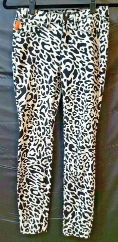 60a0158a547 K Kardashian Cortney Size 4 Jeggings Black White Leopard Stretch Jean 26 X  28  Kourtney