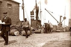 The docks in the time covered by my first published novel, Through Streets Broad and Narrow. Old Pictures, Old Photos, Vintage Photos, Photo Engraving, Ireland Homes, Dublin City, Grand Canal, Dublin Ireland, Book Of Life