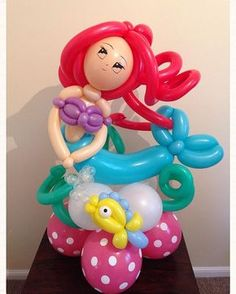 Mermaid Balloons, Princess Balloons, Disney Balloons, Balloon Toys, Balloon Crafts, Balloon Animals, Balloon Table Centerpieces, Balloon Decorations, Masquerade Centerpieces