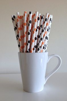 Paper Straws - 25 Orange and Black and White Polka Dot Party Straws Halloween Wedding Birthday Bridal Baby Shower Cincinnati Bengals by PuppyCatCrafts, $3.60