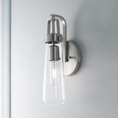 Clear Glass Vial Wall Sconce $100 shades of light.... cool for bath room?