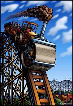 Steam Roller Coaster  Whimsical Roller Coaster By Chetart Coaster Art Roller Coasters