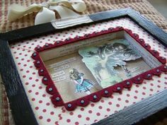 Add some other fabric as a mat or background? Alice In Wonderland Crafts, Craft Tutorials, Craft Ideas, Shadow Box, Diorama, Wedding Dress, Objects, Inspired, Frame