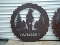 A perfect addition to your log cabin, cottage or ranch.  Nature lovers and hunters alike!  This example is made of a genuine saw blade.  Any bear hunters out there?