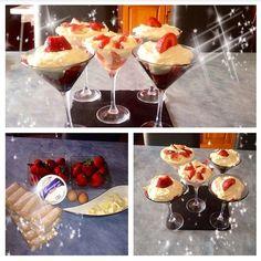 Tiramisu fraise chocolat blancngrédients:   Pour 6 verrines:  - 500g de mascarpone - 3 œufs  - 700g de fraises  - 200g de chocolat blanc - des boudoirs