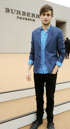British actor Douglas Booth wearing Burberry tailoring at the Prorsum Menswear S/S14 show in London