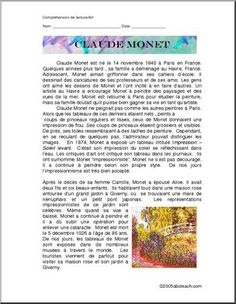 French: Claude Monet - Reading about Claude Monet. French Teacher, French Class, Teaching French, Student Teacher, New Teachers, Claude Monet, French Tutors, Word Puzzles, Reading Comprehension