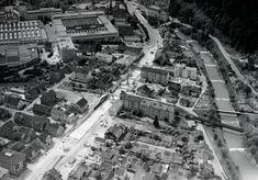 Winterthur-Töss Unterführung der Zürcherstrasse im Bau, rechts die Töss, links Fabrikbauten der Rieter AG, am oberen Bildrand Hotel Krone 1963