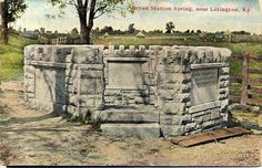 Bryan Station Spring My Old Kentucky Home, Ancestry, American History, Vintage Photos, Mount Rushmore, Log Cabins, Mountains, Storage Boxes, Tiny Houses