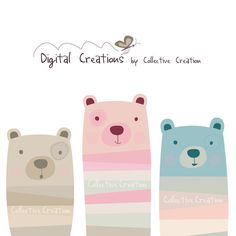 Three Little Bears Digital Clipart - Personal and Commercial Use