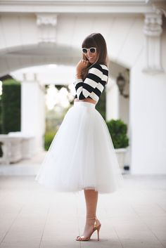 stripe shirt and tulle skirt, wedding guest outfit inspiration, street style, Los Angeles fashion blogger, margo and me, midi skirt, modest fashion, Space 46