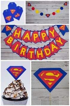 Superman inspired happy birthday banner, centerpiece, cupcake topper, favor tags and garland party decorations. Superman Party Decorations, Superhero Classroom Decorations, Paper Party Decorations, Birthday Party Decorations, Superman Happy Birthday, Superhero Birthday Party, Happy Birthday Banners, Birthday Parties, Backdrops For Parties