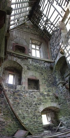 Fatlips tower, showing inside west gable - built in 16th century, restoration is planned by 2013 - Minto, Roxburghshire, Scotland