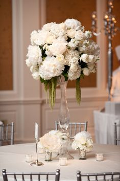 All white centerpiece ~ Floral design by, Photography by, Event Planning & Design by Life Style White Centerpiece, Table Centerpieces, Wedding Centerpieces, Wedding Table, Wedding Decorations, Wedding Receptions, Hydrangea Centerpieces, Modern Centerpieces, Centerpiece Flowers