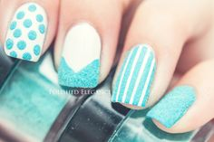 Furry nails!  Full post here :  http://polishedelegance.blogspot.no/2013/07/furry-nails.html  Use our nail art products :  http://www.bornprettystore.com/flocking-powder-manicure-nail-nail-polish-blue-p-4476.html  10% off sitewide code: WKL91