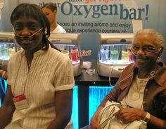 Brenda Brown on left, Chilling the Oxygen Bar