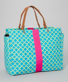 Take a look at the Aqua & Green Wallpaper Tote on #zulily today!