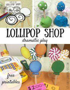 Set up your own fun lollipop shop dramatic play area with these free printables.