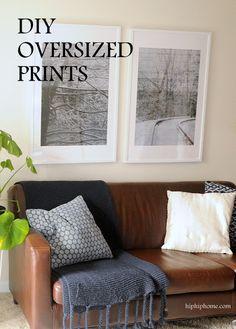 DIY OVERSIZED FRAMED PHOTOS - HIP HIP HOME! Cheap Artwork, Diy Artwork, Large Photo Prints, Cheap Printing, Engineer Prints, Hip Hip, Large Photos, Great Rooms, Room Inspiration
