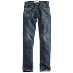 Lucky Brand Selvedge Denim 121 Heritage Slim ($168) ❤ liked on Polyvore featuring men's fashion, men's clothing and men's jeans