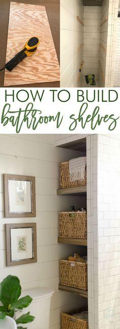 How to build bathroom shelves next to shower inexpensive diy bathroom shelves (Diy Storage Bathroom) Diy Home Decor Rustic, Diy Home Decor Projects, Basement Bathroom, Bathroom Shelves, Bathroom Storage, Bathroom Ideas, Shower Shelves, Bathroom Inspo, Simple Bathroom