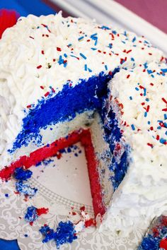 Red, white and blue birthday cake ... For my mommy who's Birthday is on July 4th !