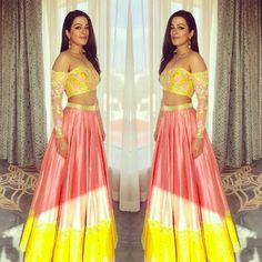 divya reddy's - Peach skirt and off shoulder top makes for a great indo western outfit