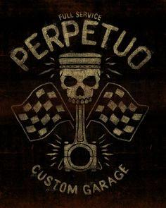 PERPETUO - LA MARCA DEL DIABLO by Maleficio Rodriguez, via Behance Motos Vintage, Vintage Motorcycles, Jeep Tattoo, Motorcycle Posters, Custom Garages, Rat Fink, Retro Images, Garage Art, Badass Tattoos