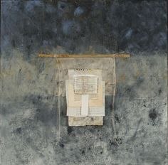 Sanctuary, cold wax and oil, collage papers, bamboo stick, string  by Donna Watson