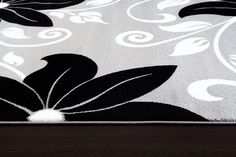 Gray Black Floral Transitional Area Rugs