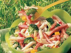 Bow-tie pasta is the start of a hearty salad with broccoli, ham and bell pepper in an Italian dressing that you make from scratch.