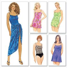 Women's SWIMSUIT & SARONG Sewing Pattern - Plus Size Bathing Suits 4 Sizes