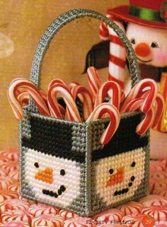 MINI FROSTY BASKET SNOWMAN PLASTIC CANVAS PATTERN INSTRUCTIONS ONLY FROM A BOOK in Crafts, Needlecrafts & Yarn, Needlepoint & Plastic Canvas | eBay