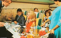 Passengers enjoy first class service on board one of Air New Zealand's flights in the 1960. www.portr.com #LuggageFreedom