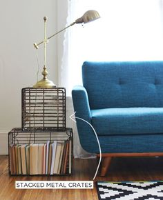 Storage side tables for next to chairs/sofa is a good idea: Metal Crate Side Table Idea My Living Room, Home And Living, Living Spaces, House Design Photos, Home Design, Interior Design, Modern Interior, Room Inspiration, Interior Inspiration