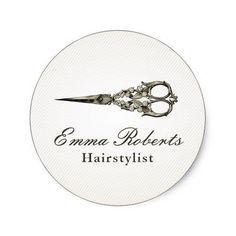 Antique Scissor Vintage Hair Salon Classic Round Sticker