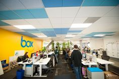 Box—the popular online file sharing and cloud content management service—is expanding in both personal and professional use. We sat down with Kevin Tu, UX Lead at Box in Los Altos, CA. Office Ceiling, Ceiling Grid, Ceiling Tiles Painted, Tiles Uk, Cool Office, Office Ideas, Pharmacy Design, Colored Ceiling, Dropped Ceiling