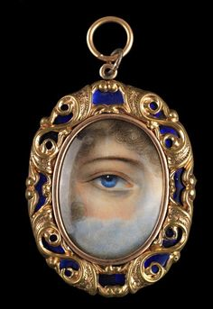 """lover's eyes,"" hand-painted miniatures of single human eyes set in jewelry and given as tokens of affection or remembrance. In 1785, when the Prince of Wales secretly proposed to Mrs. Maria Fitzherbert with a miniature of his own eye, he inspired an aristocratic fad for exchanging eye portraits mounted in a wide variety of settings including brooches, rings, lockets, and toothpick cases."