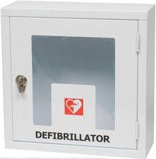 Enkelt skåp för hjärtstartare för inomhusbruk. På låset finns hål för plombering eller liknande.