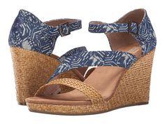 TOMS Clarissa Wedge: blue batik