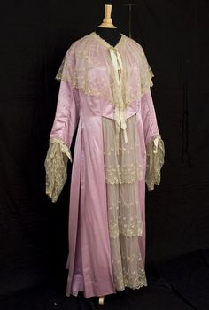 "B. Altman French Satin Tea Gown With Handwritten Label Showing Name Of Original Owner As ""Mrs. J. W. Tillinghast""  c.1900"