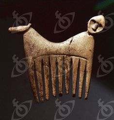 Comb decorated with a human and animal head. Country of Origin: Sweden. Culture: Pre-Viking. Credit Line: Werner Forman Archive/ Statens Historiska Museum, Stockholm