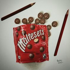 Packet of Maltesers chocolate drawing and illustration done using Prismacolors and ProMarkers.