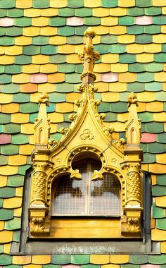 roof detail; there are many buildings with these beautiful multi-colored tiles in budapest, truly a lovely city!