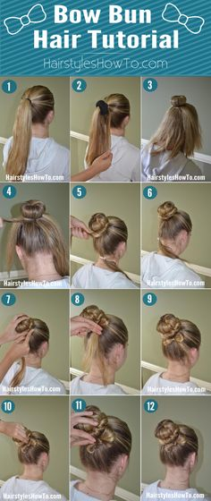 Bow Bun Hair Tutorial - Cute way to add a girly touch to your bun by making a small bow out of a strand of hair! Bow Bun Hair Tutorial - Cute way to add a girly touch to your bun by making a small bow out of a strand of hair! Waterfall Braid With Curls, Braids With Curls, Dance Hairstyles, Easy Hairstyles, Hairdos, Hair Growth Mask Diy, Bun Bow, Medium Hair Styles, Long Hair Styles