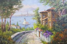 ARICAM - YAĞLIBOYA TABLO-İSTANBUL Dream Pictures, Pictures To Paint, Scenery Paintings, Landscape Paintings, Exterior Rendering, Umbrella Art, Cottage Art, Istanbul, Fantasy Places