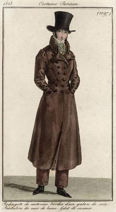 Costume Parisien 1823. Regency fashion plate. Example of a top hat in romantic period.
