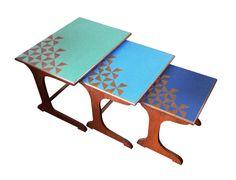 Blue Triangles Nest of Tables from Woodpop Diy Furniture Renovation, Teak Furniture, Retro Furniture, Upcycled Furniture, Furniture Makeover, Painted Furniture, Retro Desk, Retro Table, Chest Of Drawers Makeover