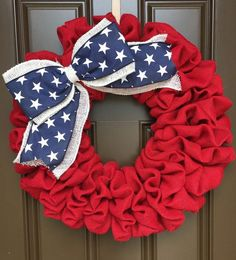 Show your patriotism with this Burlap Wreath great for any room in your home or as a great display on your front or back door. Made of an wire frame, red burlap, and a blue burlap ribbon with stars. This wreath is 6 deep and 23-24 across completed. (If youd like a larger or smaller wreath I can definitely accommodate you. Just send me a conversation.) All of our wreaths do great outdoors but are better in a covered area and out of direct sunlight. Fading will occur on the fabric. I take…