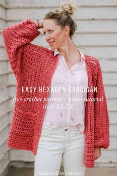 Easy Crochet Cardigan Video Tutorial – free pattern made from two hexagons OMG yes! This gorgeous sweater pattern is made from two simple hexagons and includes a video tutorial! It even uses one of my favorite Lion Brand Yarns (Vanna's Style). Crochet Bolero, Pull Crochet, Gilet Crochet, Crochet Cardigan Pattern, Crochet Jacket, Crochet Afghans, Easy Crochet, Free Crochet, Knit Crochet